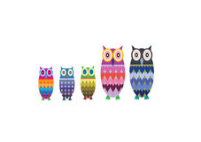 Owl Family Vector. An owl family with two parents and three children Royalty Free Stock Photos