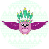 Owl with a feather headdress. Illustration of an owl with a feather headdress Stock Photography