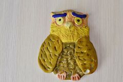 An owl figurine made from salted dough royalty free stock photography