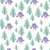 Owl and fir trees pattern. Christmas seamless pattern with the image of funny owls. Full color vector background Royalty Free Stock Photos