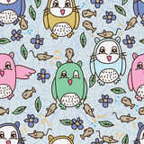 Owl fish mouse seamless pattern Stock Photos