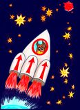 Owl flies into space. Owl`s Owl flies to conquer Mars Royalty Free Stock Image