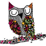Owl floral illustration Stock Photography