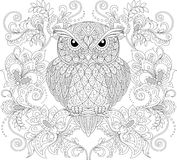 Owl and floral ornament. Adult antistress coloring page Royalty Free Stock Photography