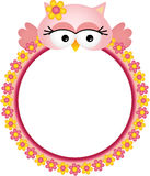 Owl with Flower Frame Royalty Free Stock Photo