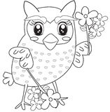 Owl with flowers coloring page Royalty Free Stock Photos