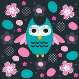 Owl with flowers vector illustration Stock Photo