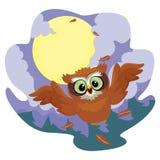 Owl Flying alla notte illustrazione di stock