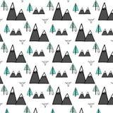 Owl And Forest Pattern dibujado mano ilustración del vector