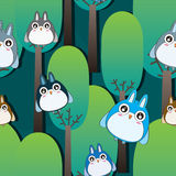 Owl Forest Seamless Pattern Royalty Free Stock Image