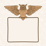 Owl with frame Stock Image