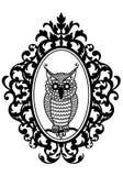 Owl in frame, vector Stock Photo