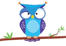 Owl funny2. Vector illustration of funny owl sitting on a tree branch Royalty Free Stock Images