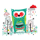 Owl garden illustration Royalty Free Stock Photography