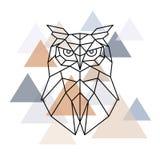 Owl geometric head. Scandinavian style. vector illustration