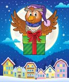 Owl with gift theme image 4 Royalty Free Stock Images