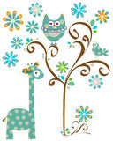 Owl and giraffe. Blue design with owl and giraffe royalty free illustration