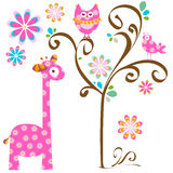 Owl and giraffe. Pink cute birds and giraffe royalty free illustration