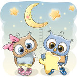 Owl Girl and Boy with a star Royalty Free Stock Photography