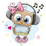 Owl Girl com fones de ouvido e corações Imagens de Stock Royalty Free