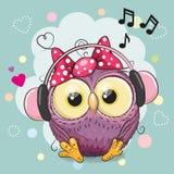 Owl Girl con le cuffie ed i cuori Fotografia Stock