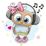 Owl Girl with headphones and hearts. Cute cartoon Owl Girl with headphones and hearts Royalty Free Stock Images