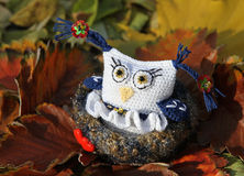 Owl girl in a love nest. Knitted lovely souvenir. Royalty Free Stock Images