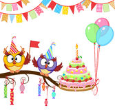 Owl give cake. Owl congratulate and give a cake Royalty Free Stock Photo