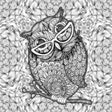 Owl with Glasses Coloring Page Vector Poster royalty free illustration
