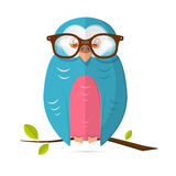 Owl with Glasses Vector Paper Illustration Isolated on White Background Royalty Free Stock Image