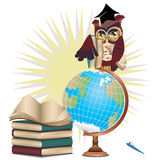 Owl with Globe Royalty Free Stock Photo