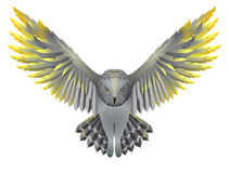 Owl with golden wings. Flying owl illustration. Bird with golden wings isolated on white Royalty Free Stock Photos