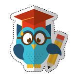 Owl with graduation hat Stock Photography