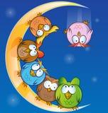 Owl group cartoon. On moon stock illustration