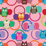Owl hair band seamless pattern Stock Photo