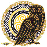 Owl hand-drawn in Celtic styl, on the background of the Celtic sun ornament royalty free illustration