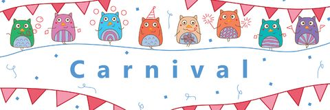 Owl hand wing carnival template banner. This illustration is design and drawing owl celebration with Carnival template on white color background in banner size Royalty Free Stock Photo
