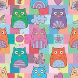 Owl hand wing symmetry square colorful seamless pattern. This illustration is design and drawing owl symmetry with natural elements in square color background Stock Images