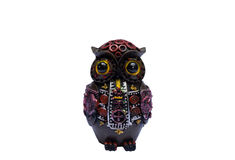 Owl handicraft. Wooden owl handicraft, white background Stock Photography