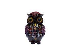 Owl handicraft. Wooden owl handicraft, white background stock photography