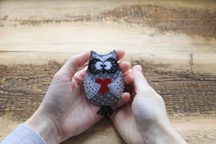 Owl handmade toy. In woman hands. Gray leather owl toy Stock Photography