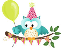 Owl Happy Birthday Fotografia Stock