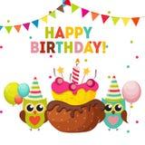 Owl Happy Birthday Background lindo con los globos y lugar para Y Fotografía de archivo libre de regalías