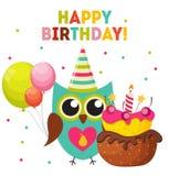 Owl Happy Birthday Background mignon avec des ballons et endroit pour Y Photographie stock