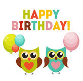 Owl Happy Birthday Background sveglio con i palloni e posto per Y Immagini Stock Libere da Diritti