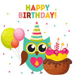 Owl Happy Birthday Background sveglio con i palloni e posto per Y Fotografia Stock