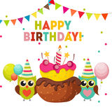 Owl Happy Birthday Background sveglio con i palloni e posto per Y Fotografia Stock Libera da Diritti