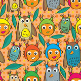 Owl Happy Girl Head Seamless Pattern Royalty Free Stock Photography