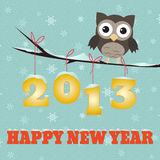 Owl Happy new year 2013. /Little brown owl on branch and snowy 2013 happy new year text Royalty Free Stock Image