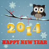 Owl Happy new year 2014. Little brown owl on branch and snowy 2014 happy new year text Stock Photos